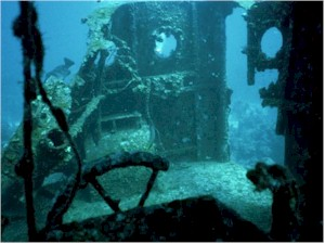 Remains of a corroded sunken ship